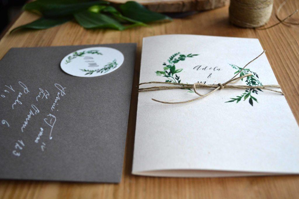 Svatební oznámení otevírací Green Love